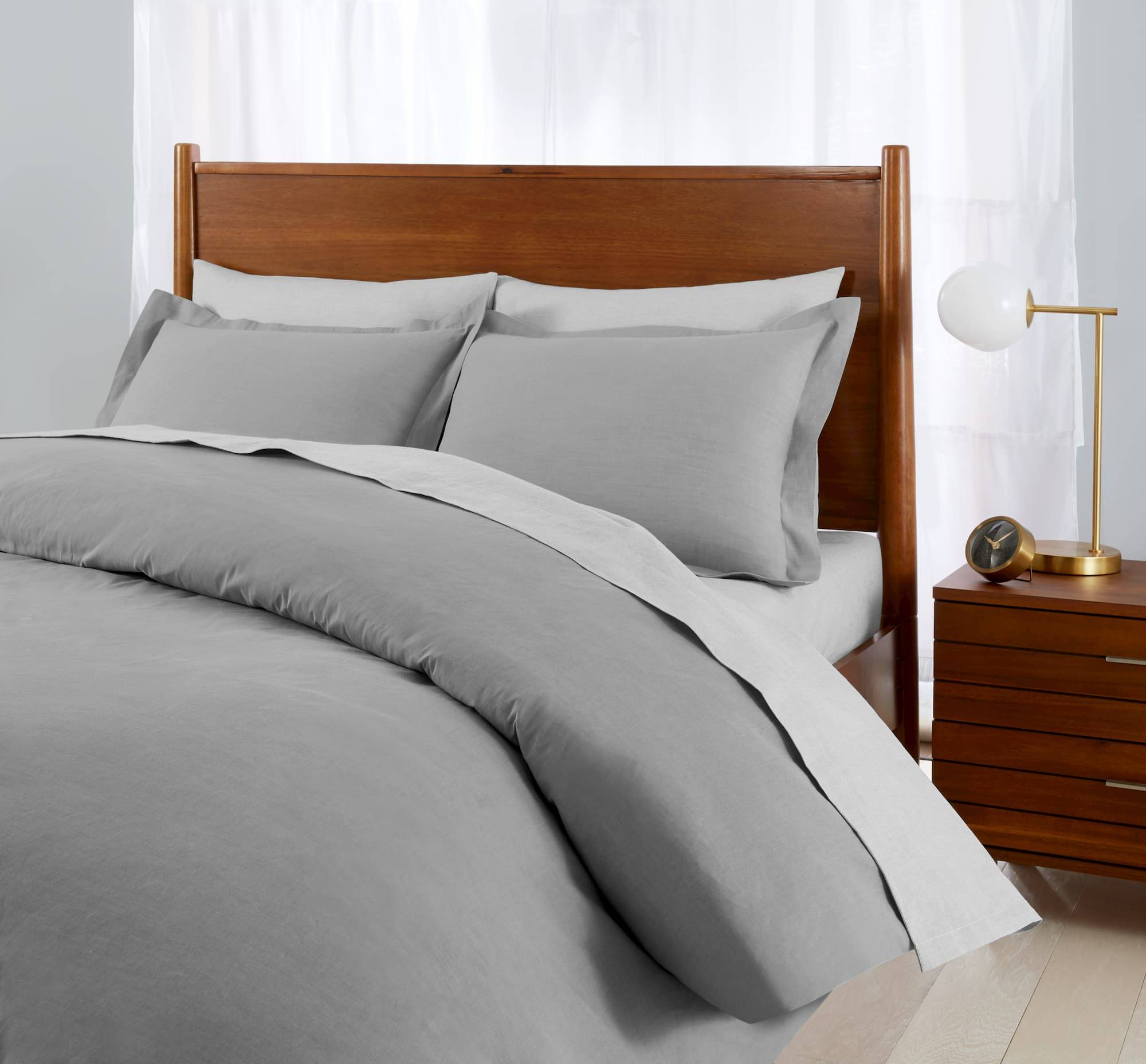 Essential Cotton Bed Sheets, Duvet Covers and Pillow Shams in Gray