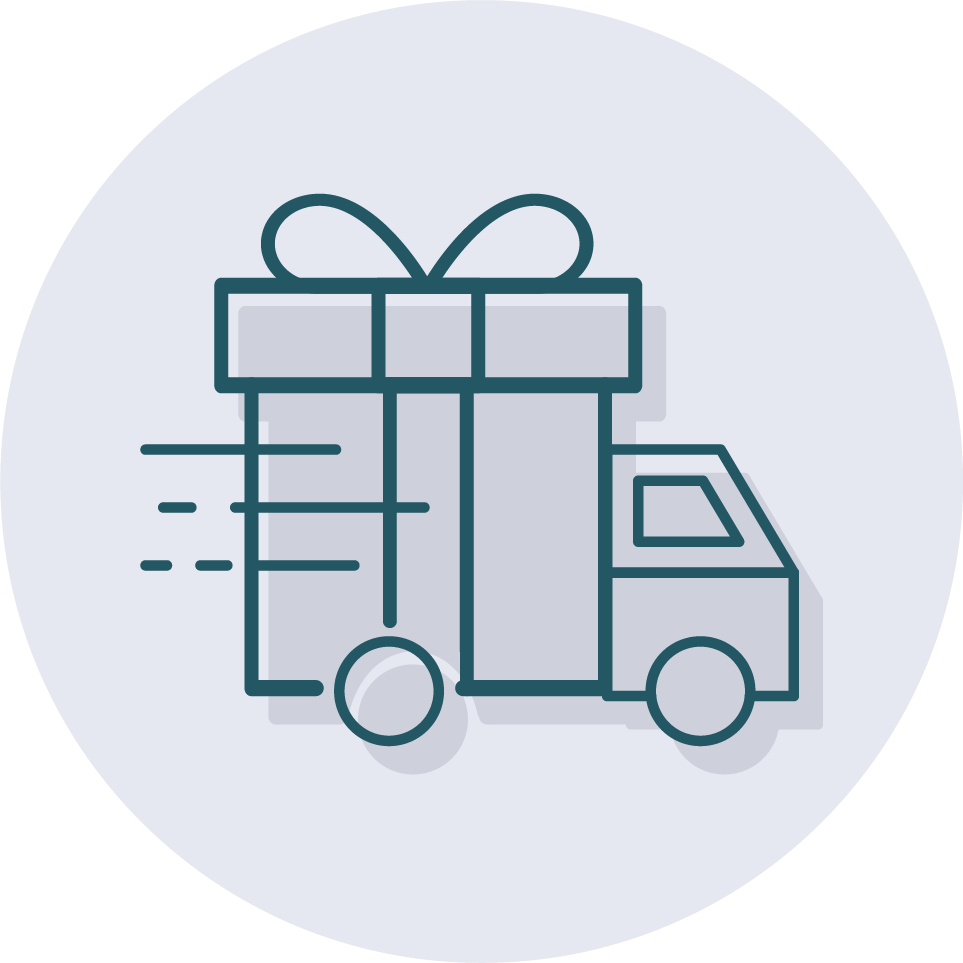 An icon of no-hassle holiday delivery for business gifts.