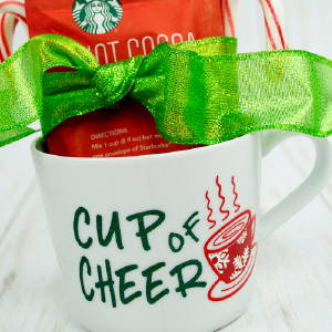 Cup of Cheer Neighbor Gift made with vinyl