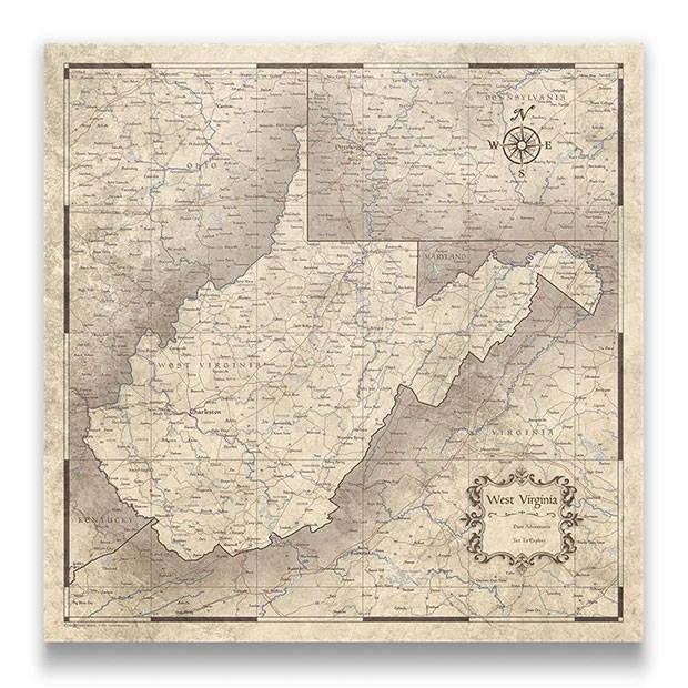 West Virginia Push pin travel map rustic vintage