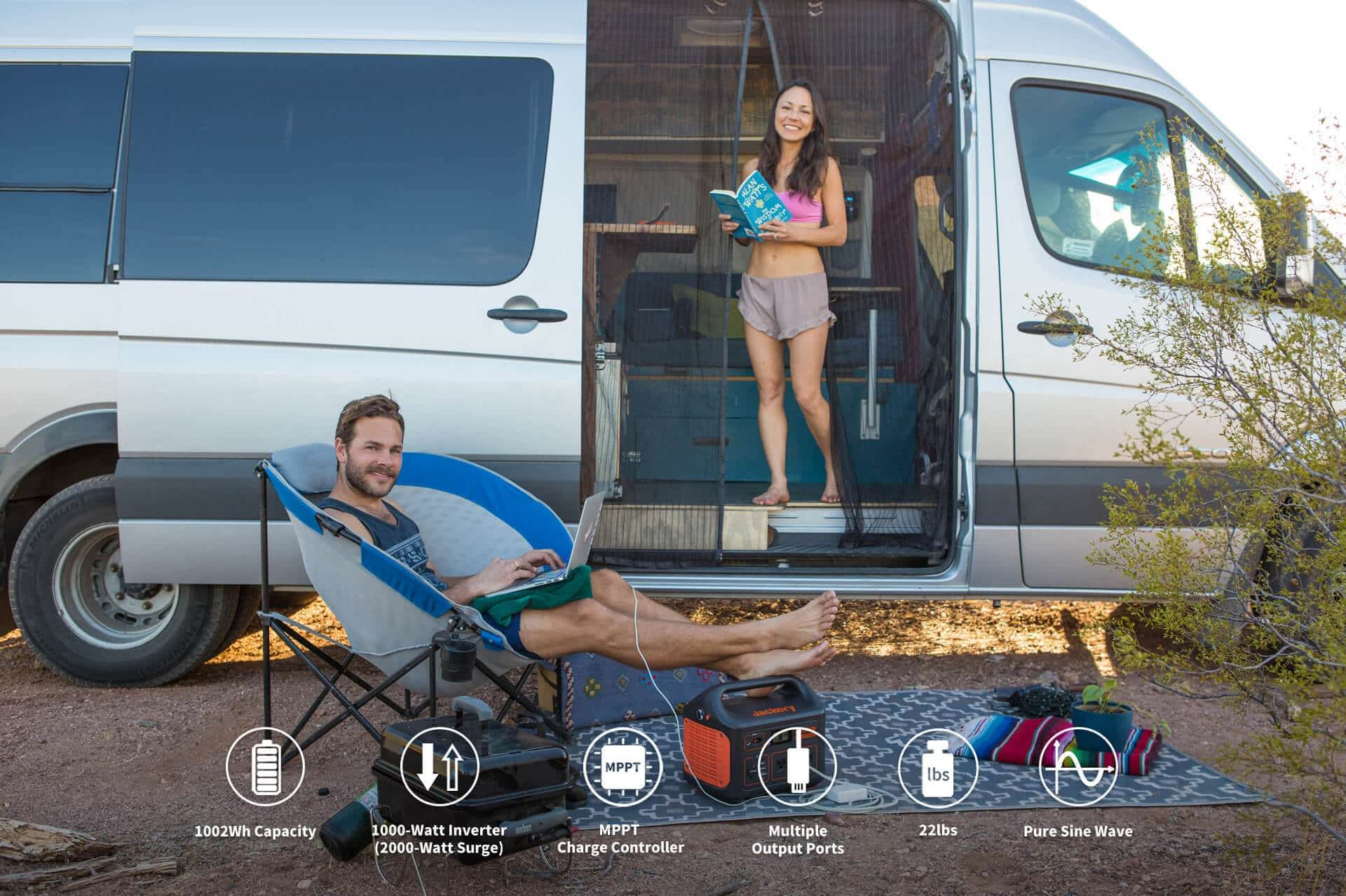 jackery explorer 1000 power station is suitable for camping to charge devices.