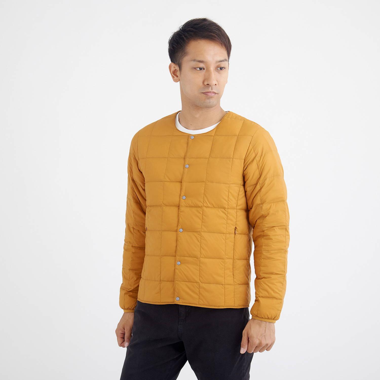 TAION(タイオン)/クルーネックボタンダウンジャケット/オレンジ/MENS