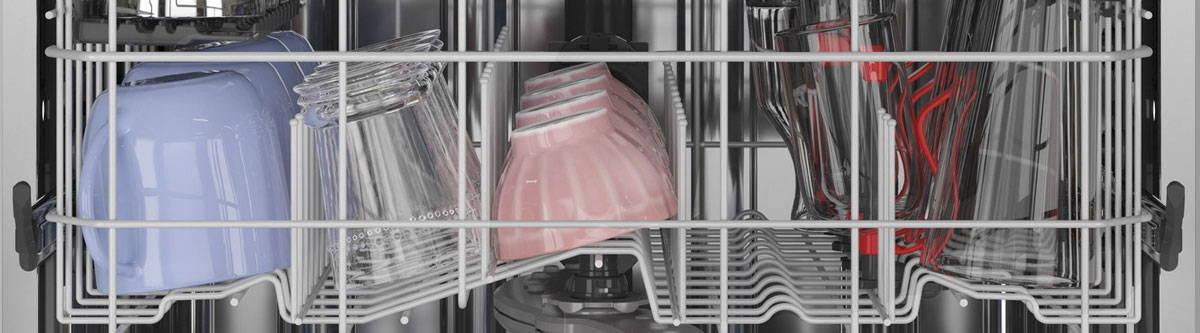GE Appliances dishwasher top rack filled