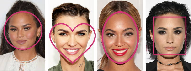celebrity face shape makeup Chrissy Teigen ruby rose beyonce demi lovato
