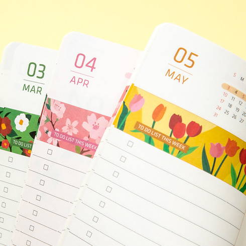 Cute illustration - 2020 Flowery dated weekly journal planner