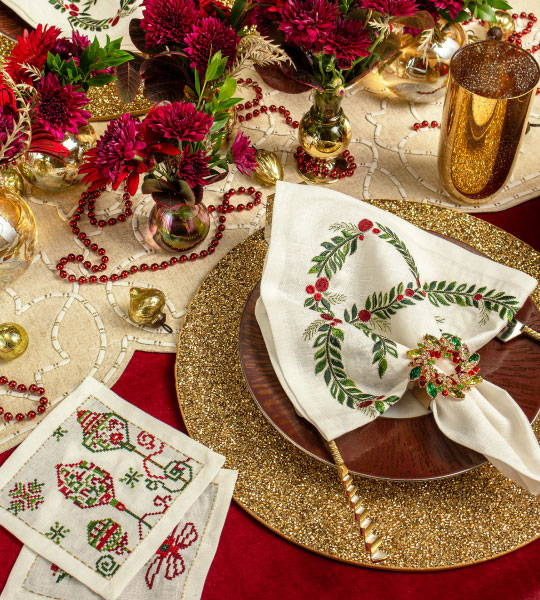 Red Christmas table setting detail