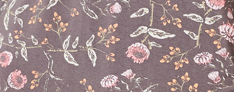 This is J bamboo fabric, Emmy Flower, charcoal grey.