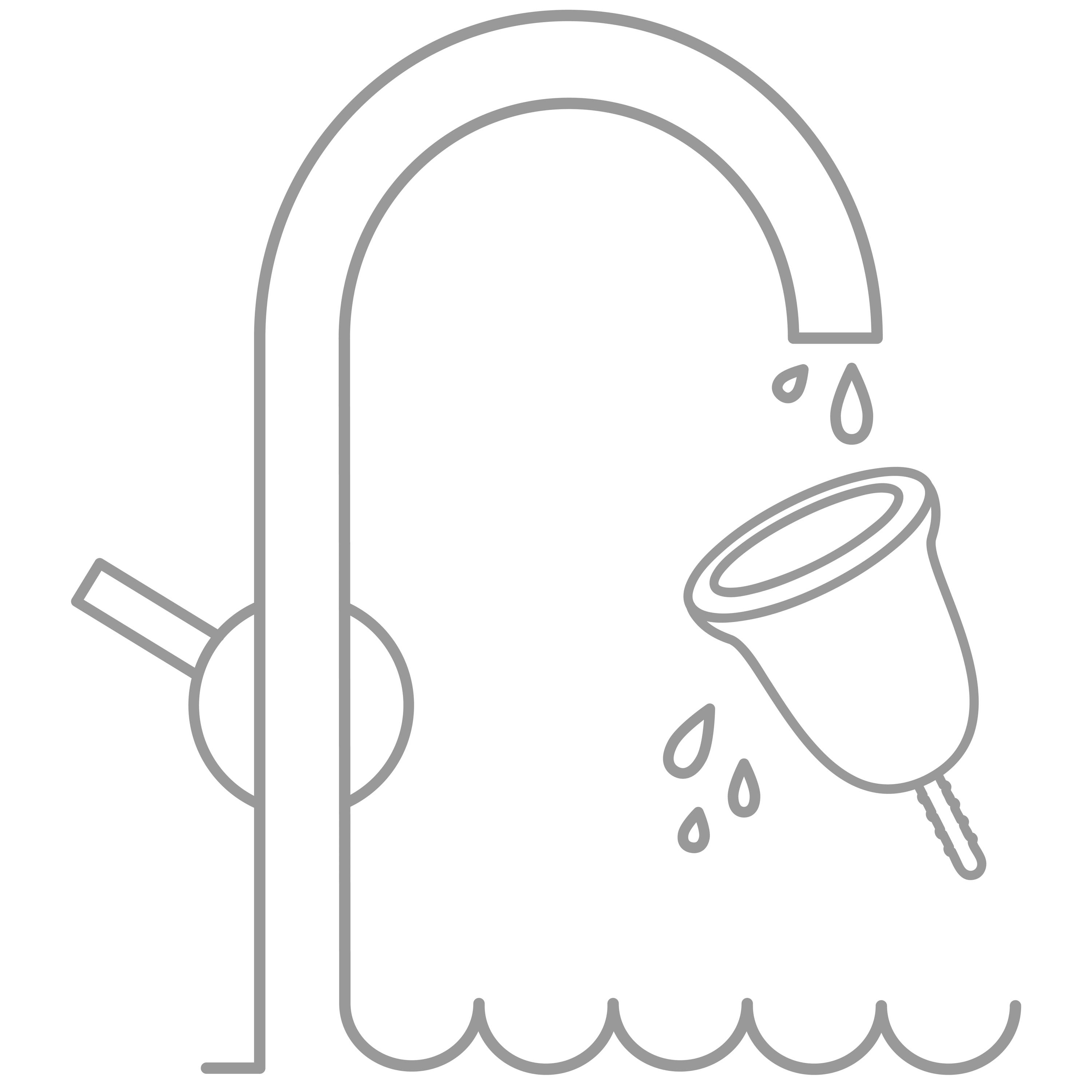 An animated menstrual cup being rinsed below a sink faucet.