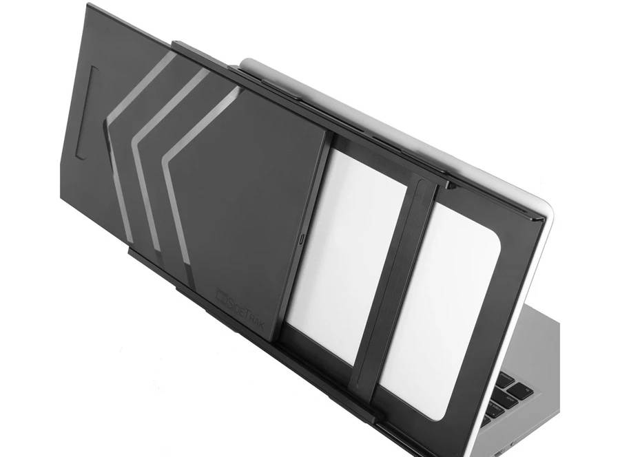 SideTrak portable screen has dual sliding tracks to fit any laptop size