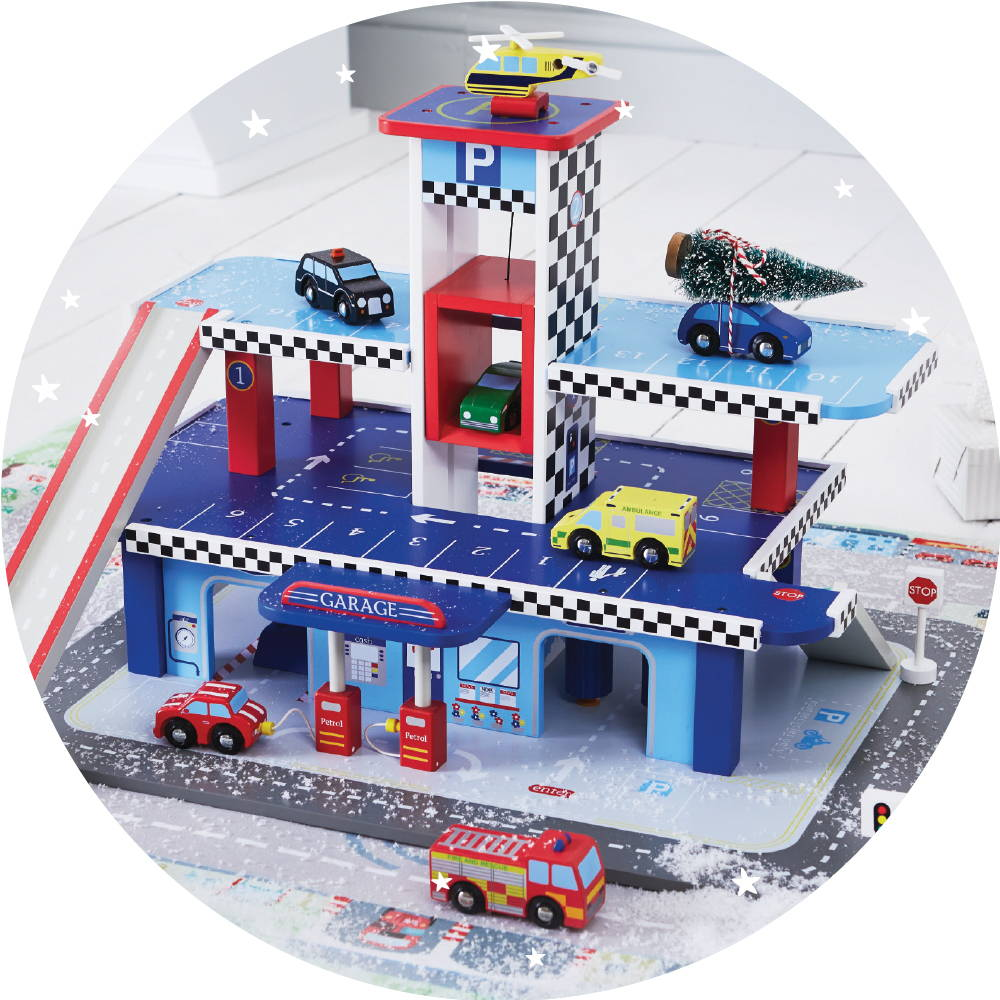 Wooden toy garage with wooden cars set