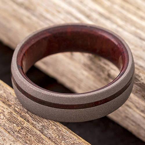 Sandblasted Ring with Ironwood