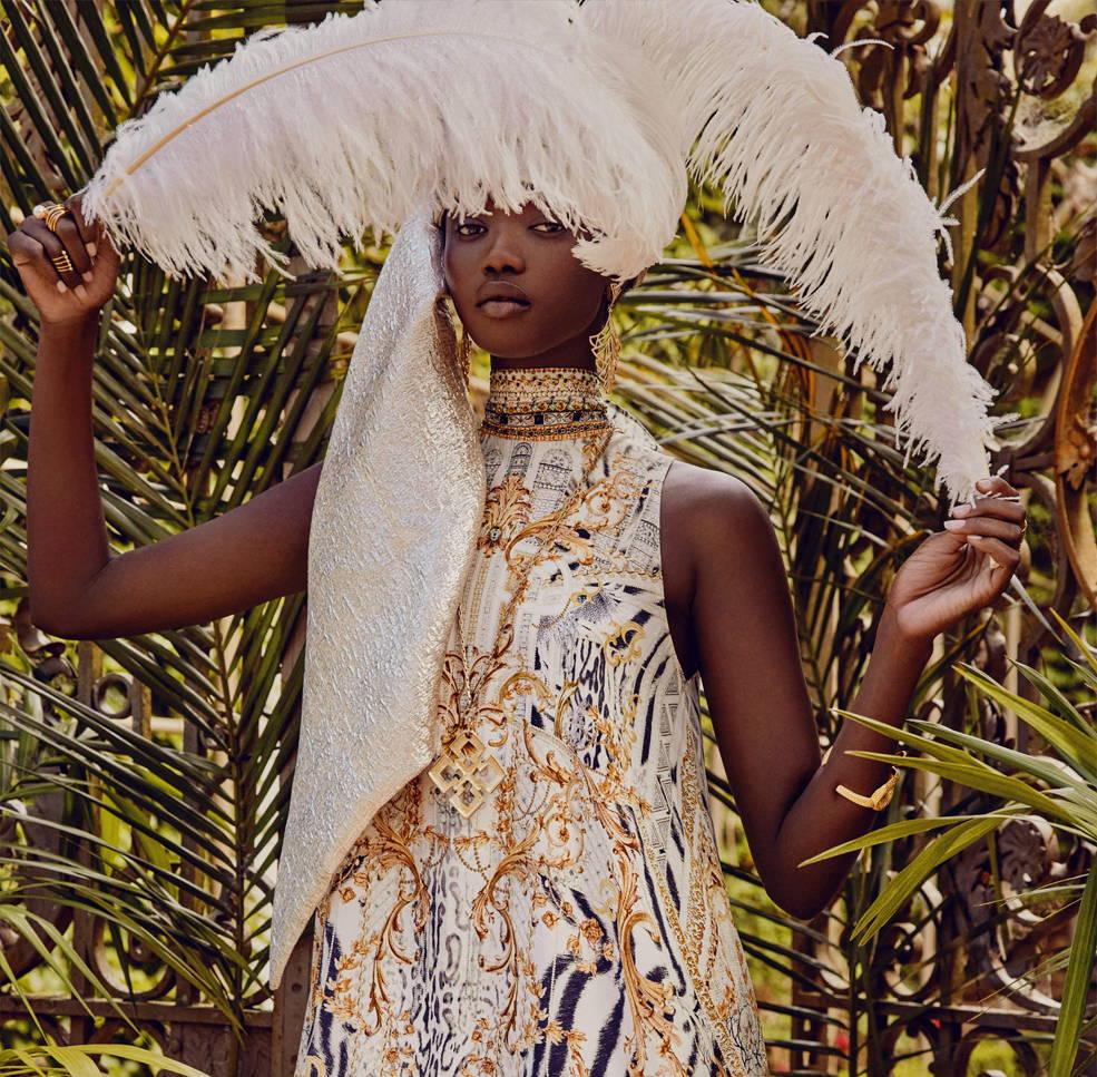 CAMILLA Gates Of Glory Dress, CAMILLA white and gold print