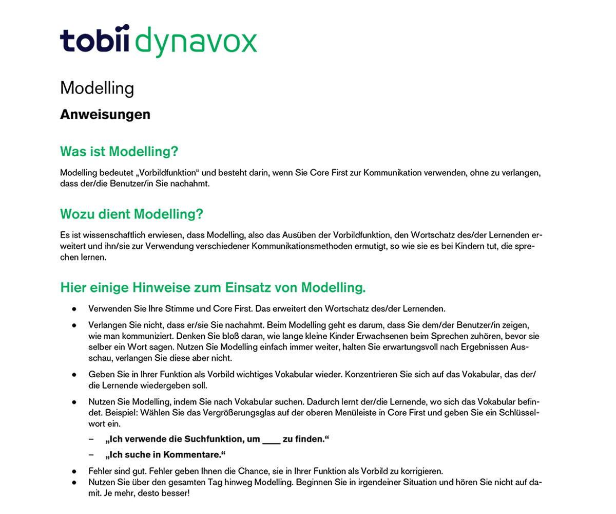 """""""Modelling""""-Anleitung in der UK-Ressource Pathways Online für Core First von Tobii Dynavox"""