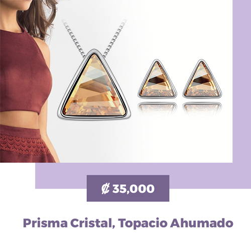 MAGIISTINO Set de Joyería de 2 Piezas con Swarovski Elements® Prisma Cristal, Topacio Ahumado
