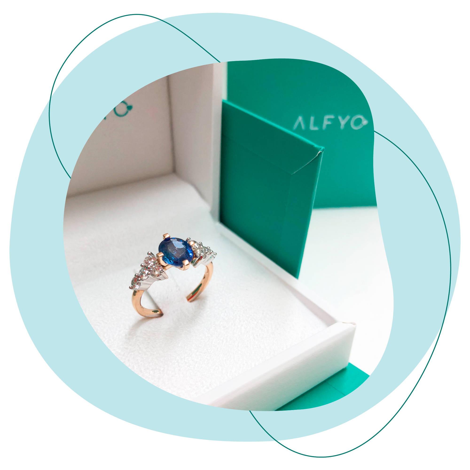 anello personalizzato con zaffiro e diamanti alfyo