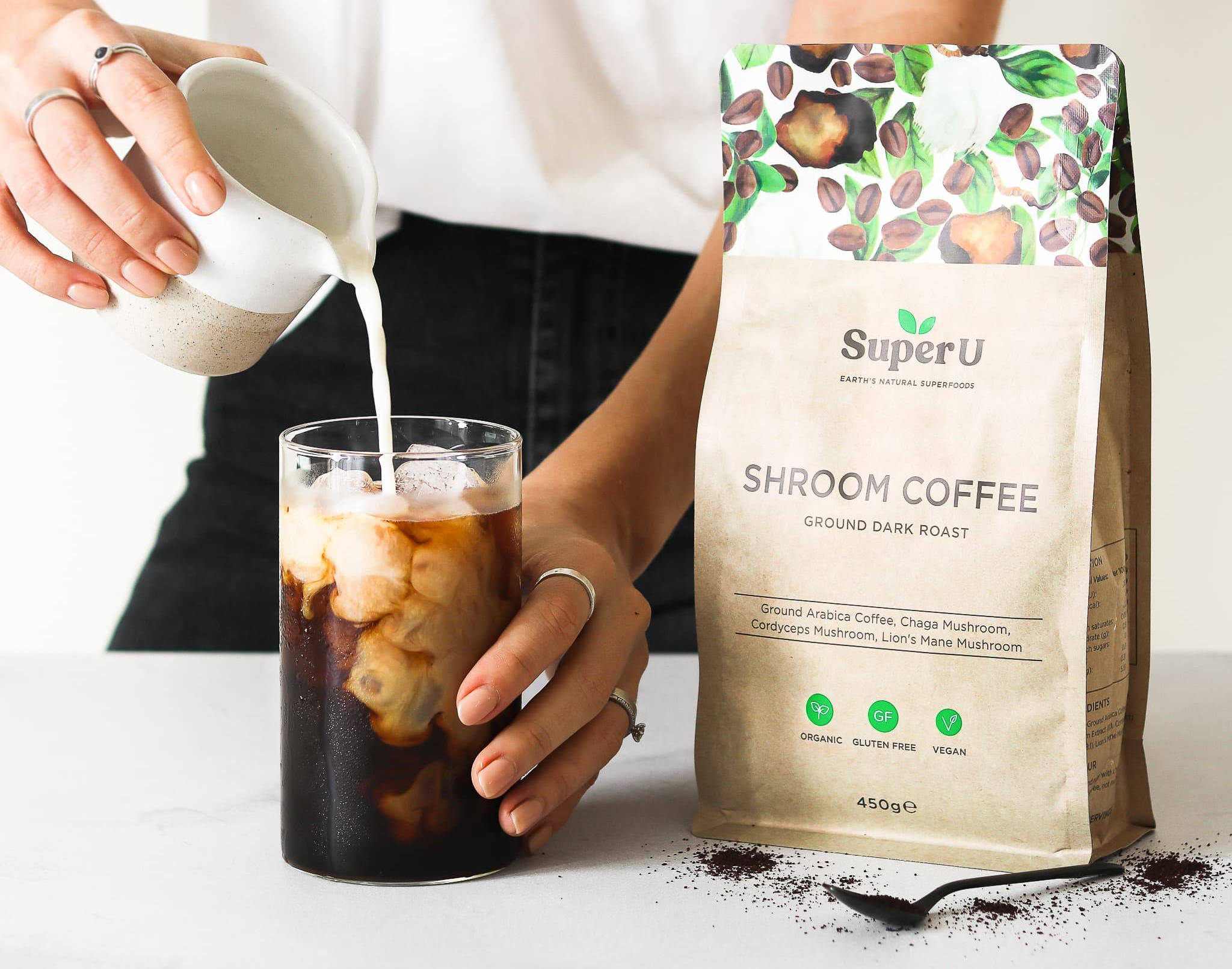 Ground mushroom coffee with lion's mane, Chaga and Cordyceps mushroom and organic arabica coffee.