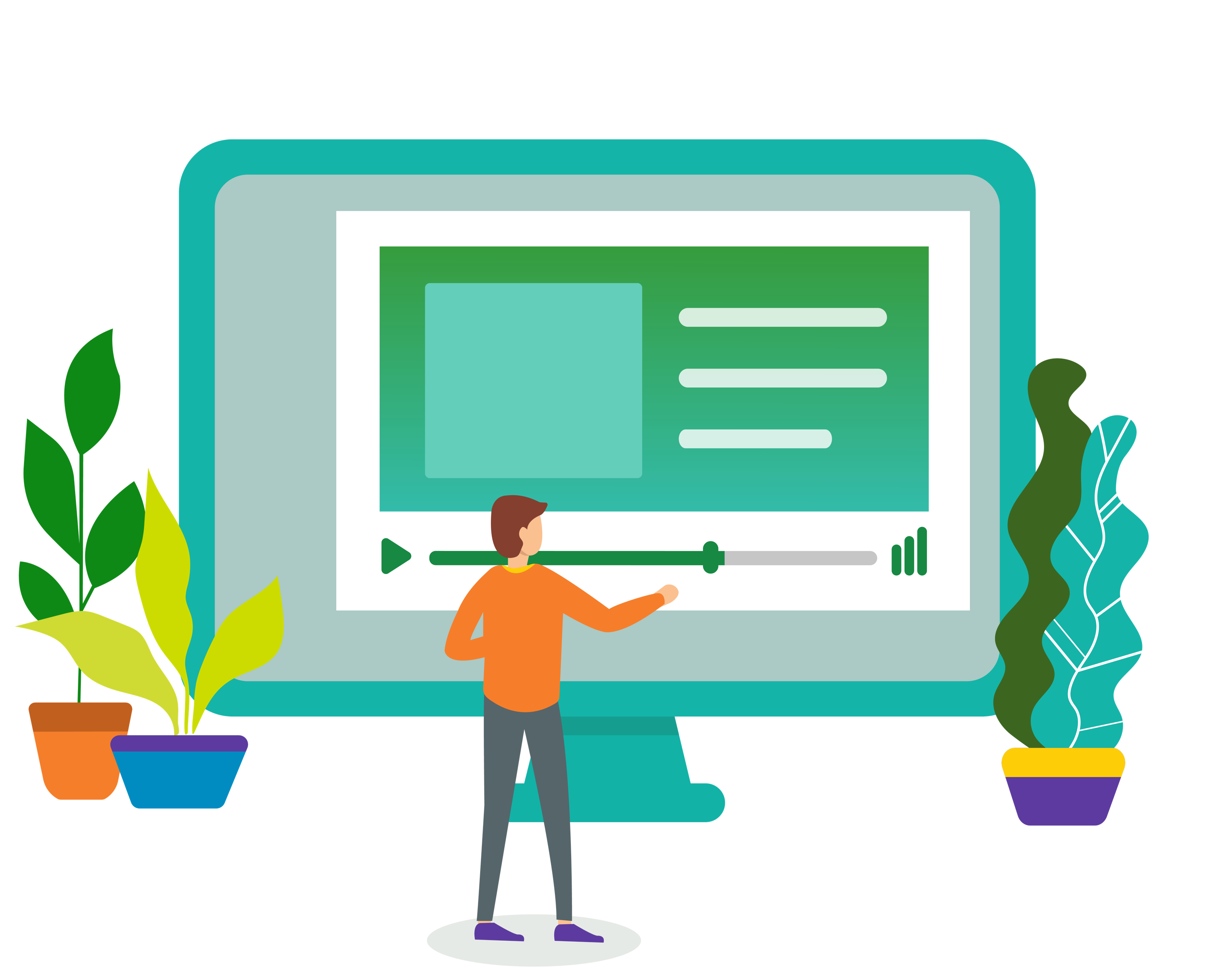Illustration of person with abstract course interface