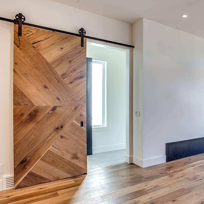 Barn door made with Cosmopolitan Hunter Flooring Material