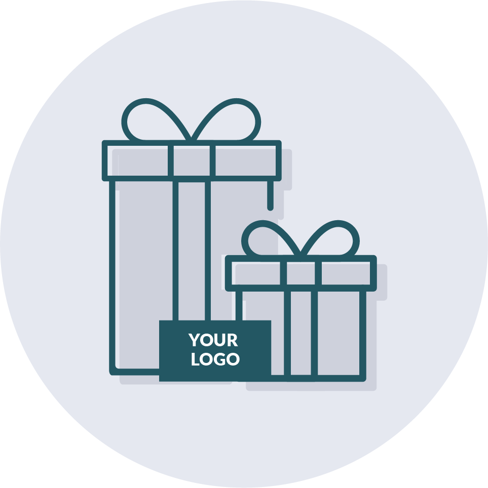 Icon of branded gift wrapping.