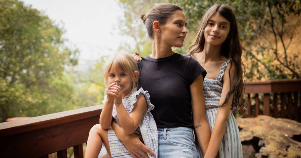Bianca Balti with her daughters Matilde and Mia at her home in Los Angeles