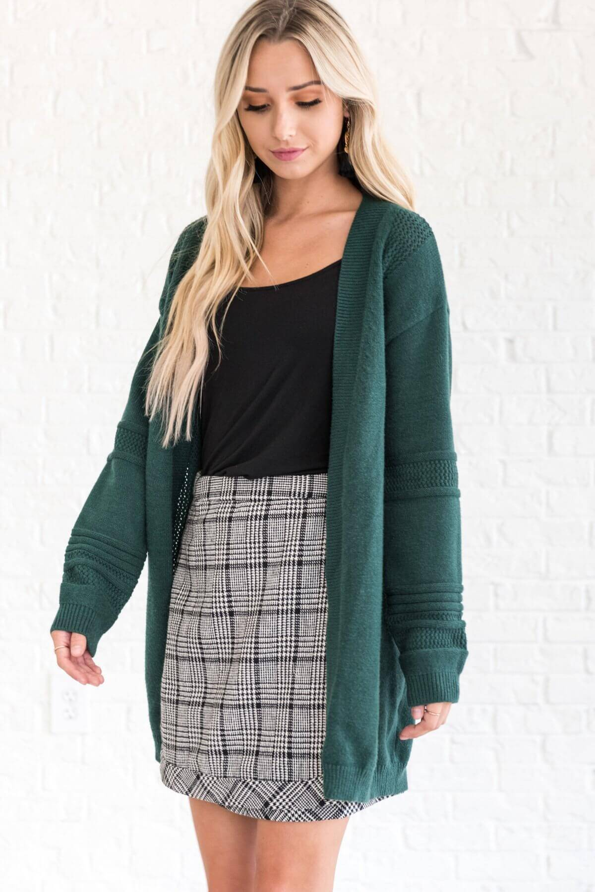 Forest Green Thick Warm Cozy Cardigans for Women