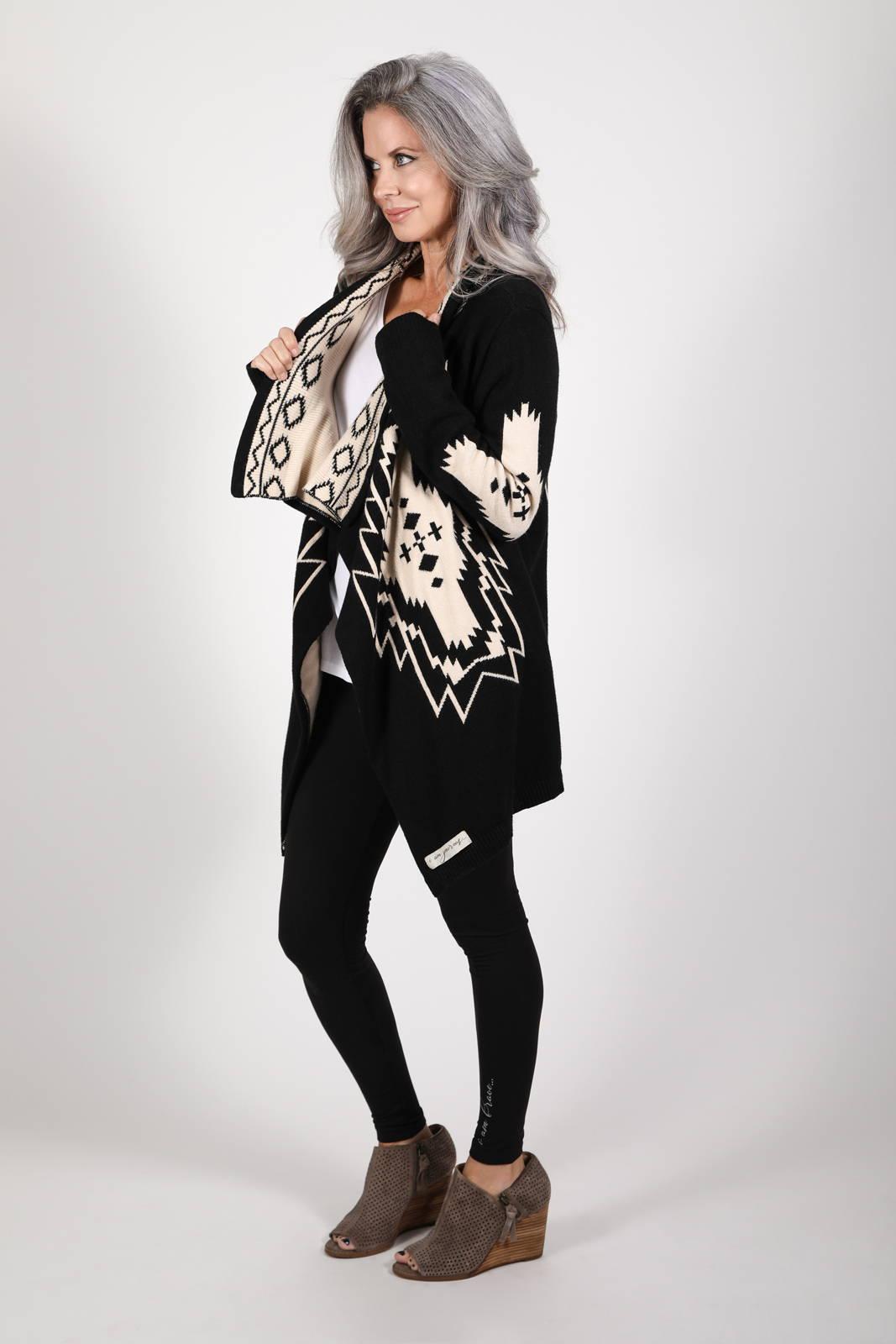 Model wearing the Nani Cardigan and Lumo Leggings, by illuminative