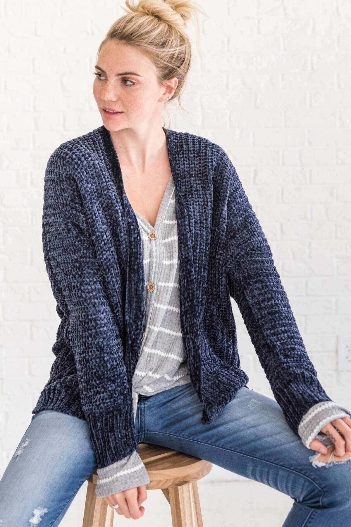 Navy Blue Chenille Soft Knit Cardigans for Women