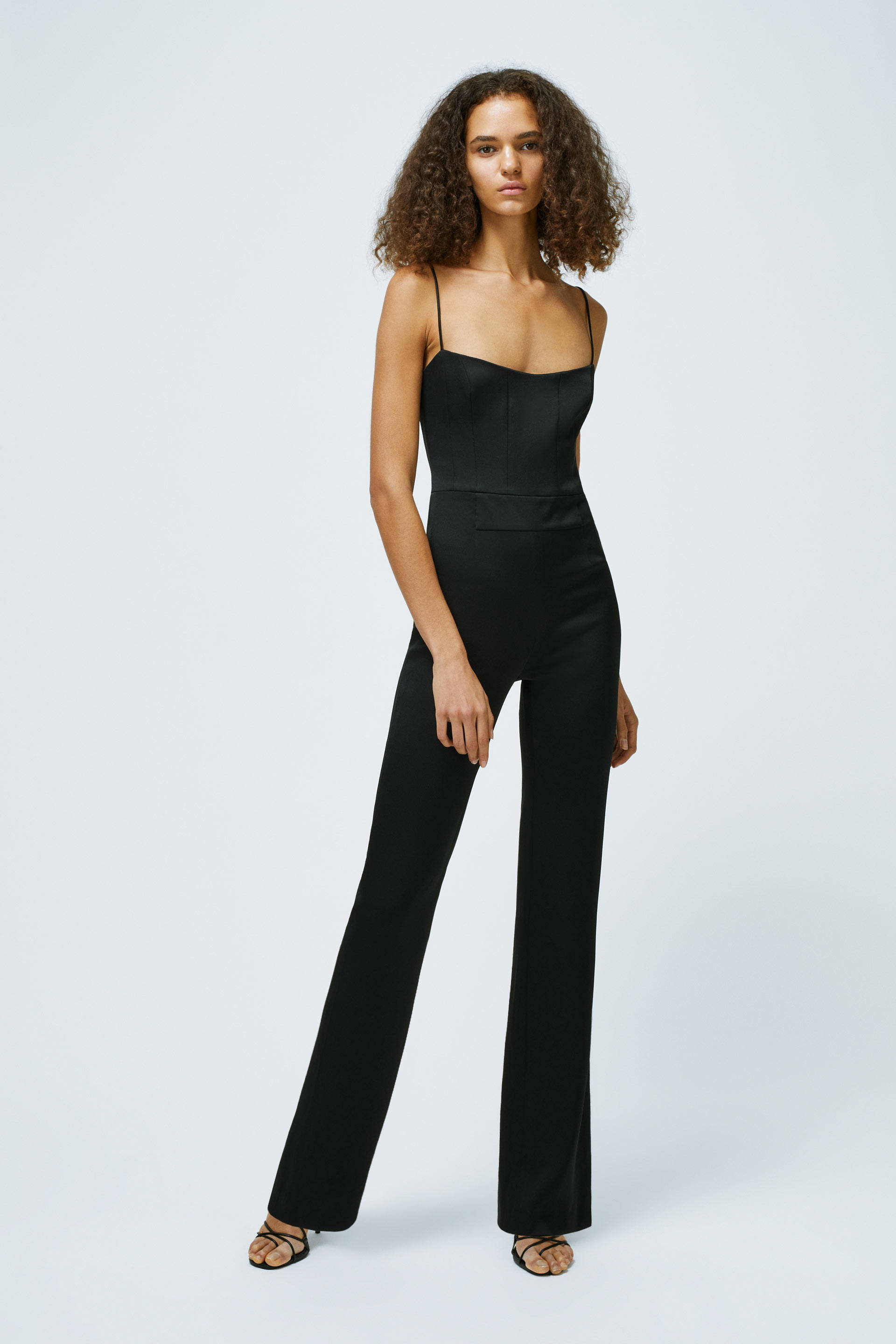 Galvan London Spaghetti Strap Beaded Black Jumpsuit