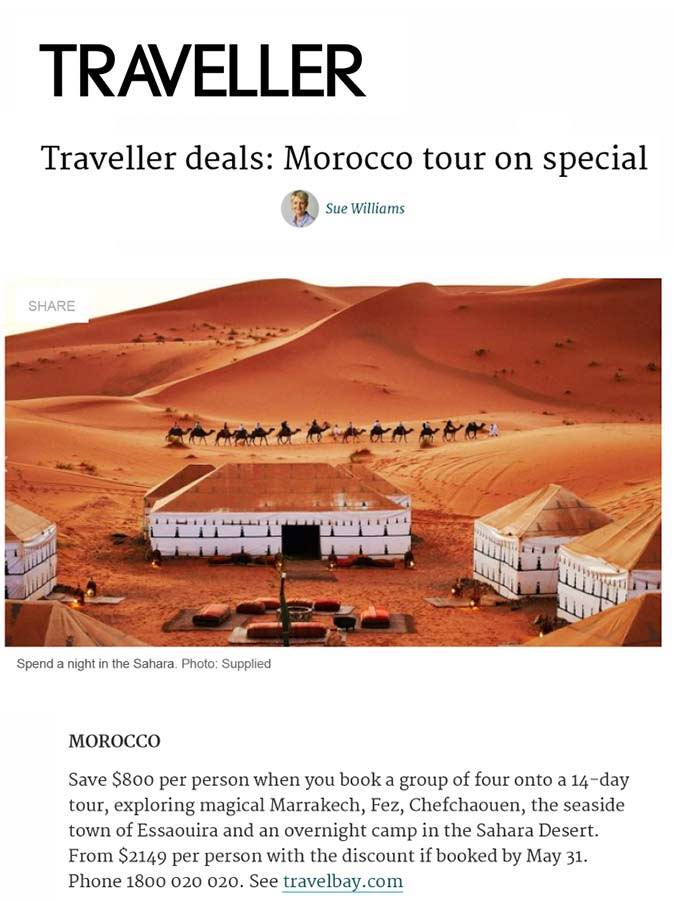 Travelbay in the Media - Traveller - Morocco Tours 14 Day