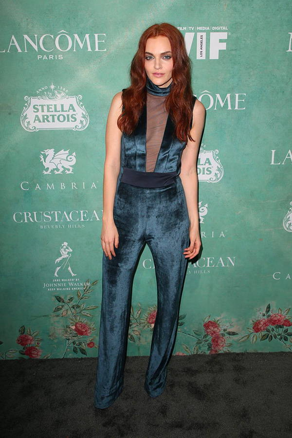 Madeline Brewer wears Galvan London Tulle Plunge Blue Jumpsuit