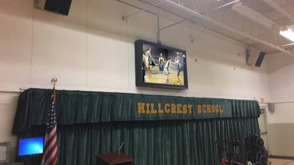 The TV Shield PRO outdoor and indoor TV enclosure for school gym, classroom, arena, lobby, hallway