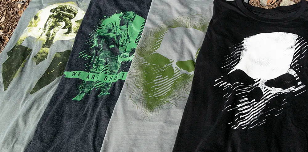 Photo showing a collection of Ghost Recon shirts