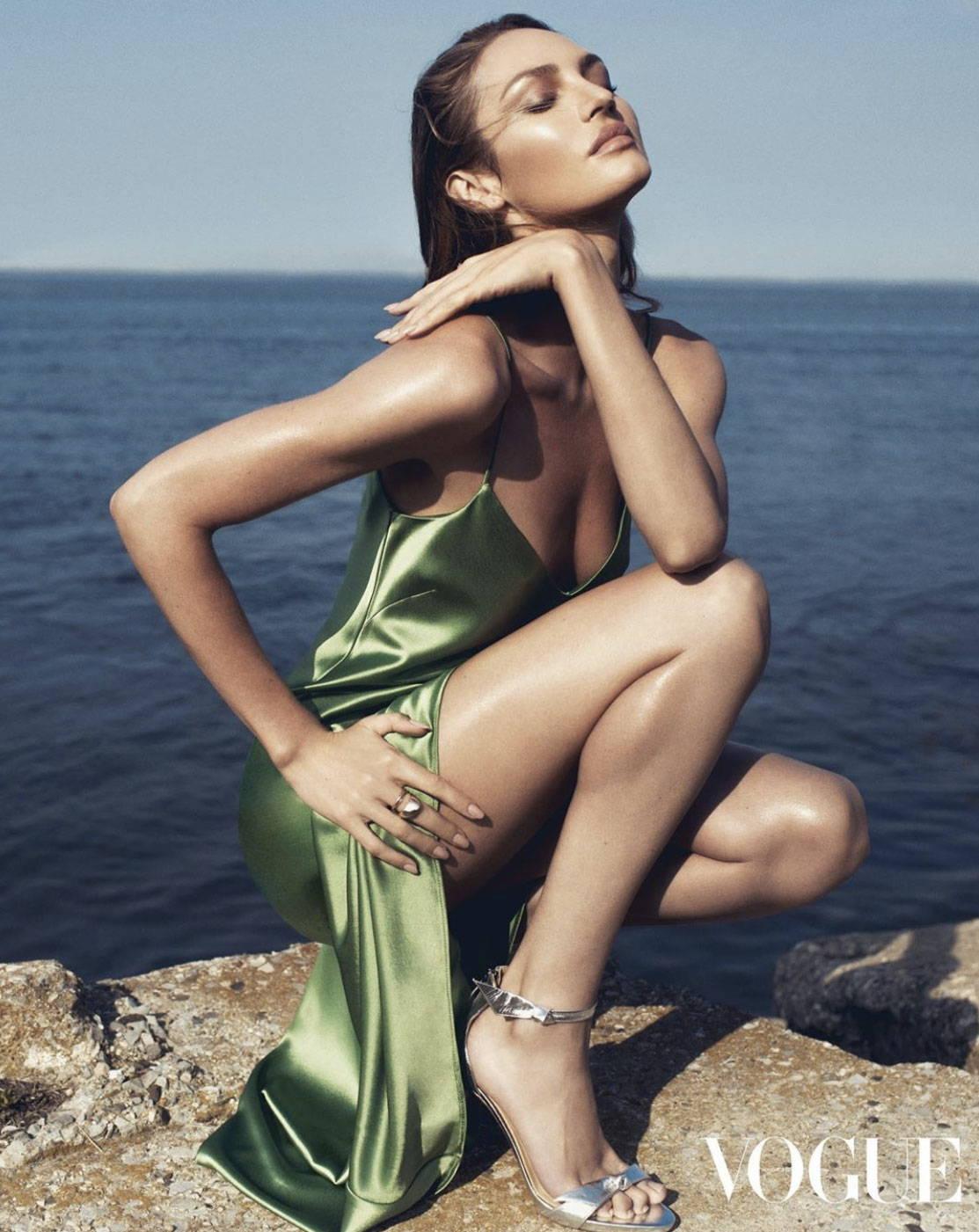 Candice Swanepoel Wearing Galvan London Galvan London V - Neck Satin Slip dress