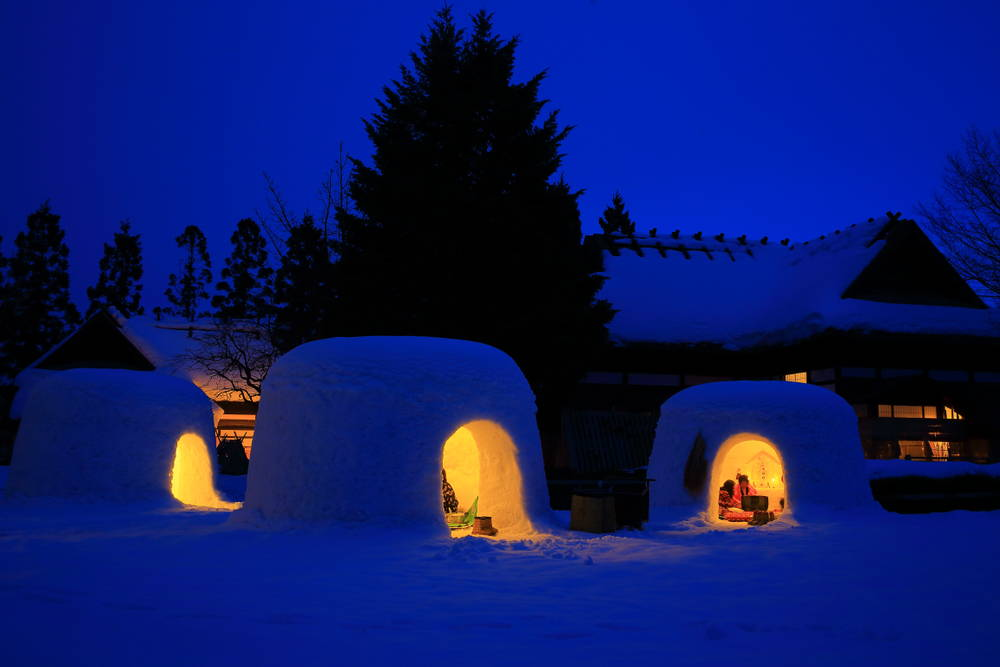 yokote kamakura snow festival - akita prefecture Japan
