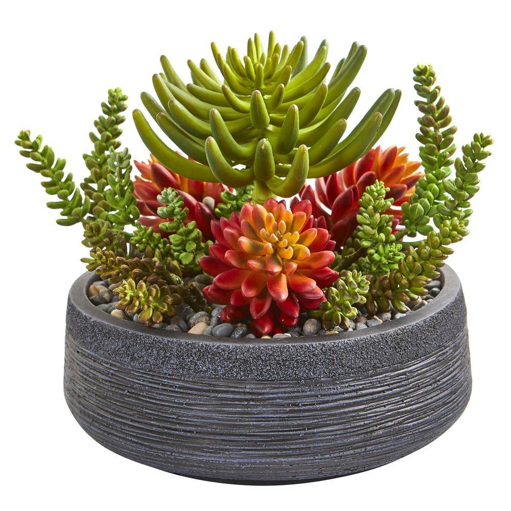 Nearly Natural Succulent Garden in Artistic Faux Stone Bowl