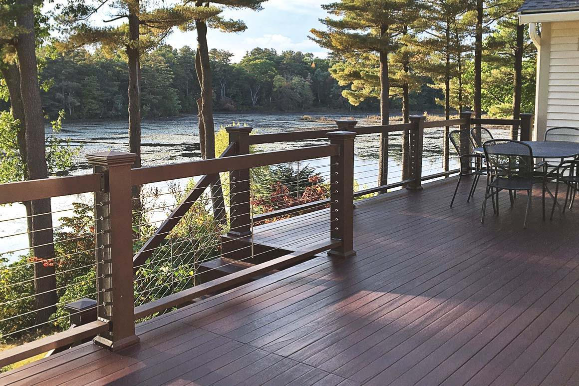 Mary's deck project with wood post tensioners