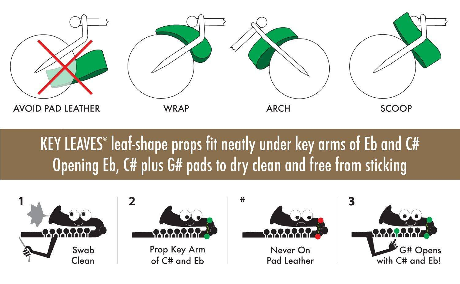 How to use Key Leaves sax key props on alto, tenor or bari saxophone to stop sticky G#, Eb and C# pads. The leaf-shape props fit neatly under key arms of Eb and C# opening G#, Eb and C# to dry clean and no sticking pads.