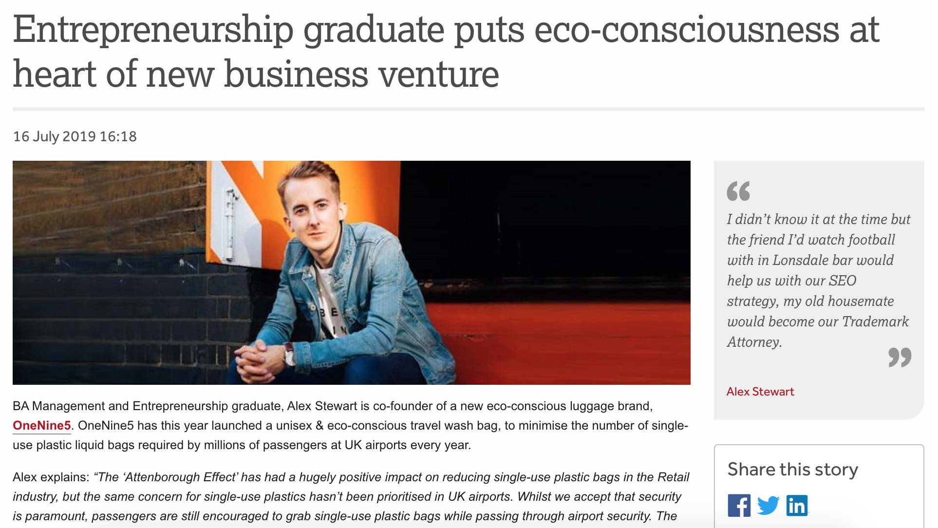 Entrepreneurship graduate puts eco-consciousness at the heart of new business venture