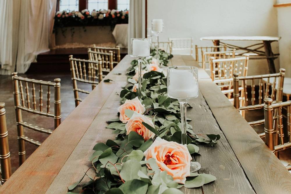 Wood Table with Greenery and Roses