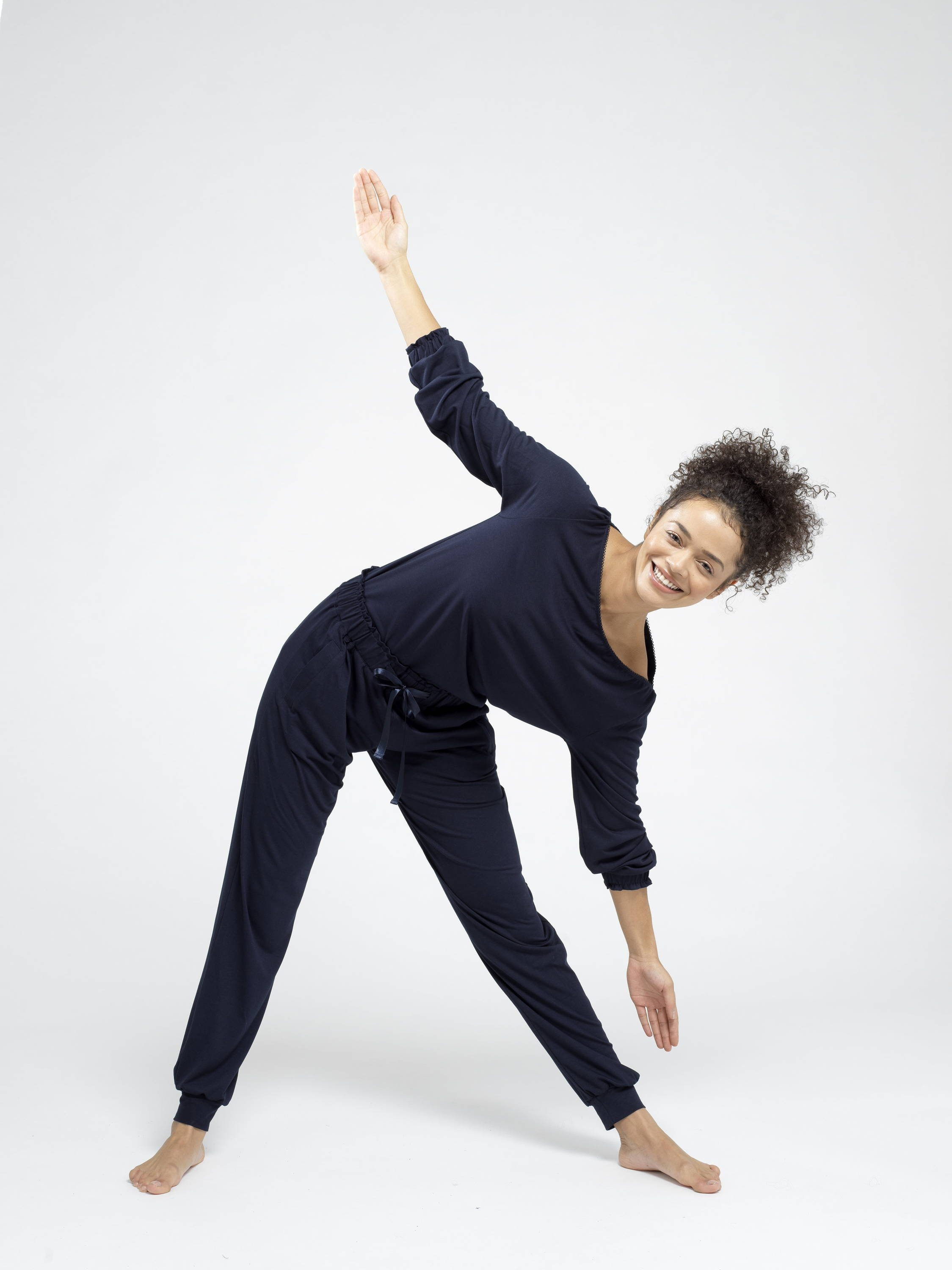a woman doing stretching