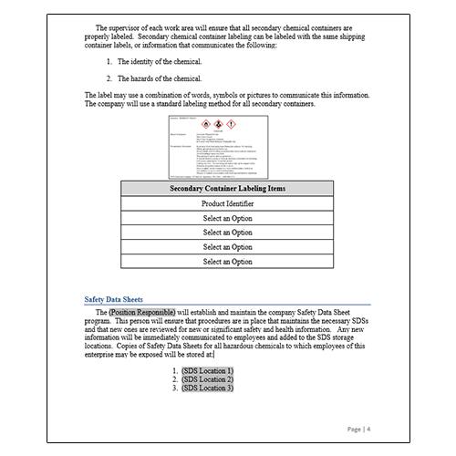Hazard Communication Program Secondary Labeling Policy
