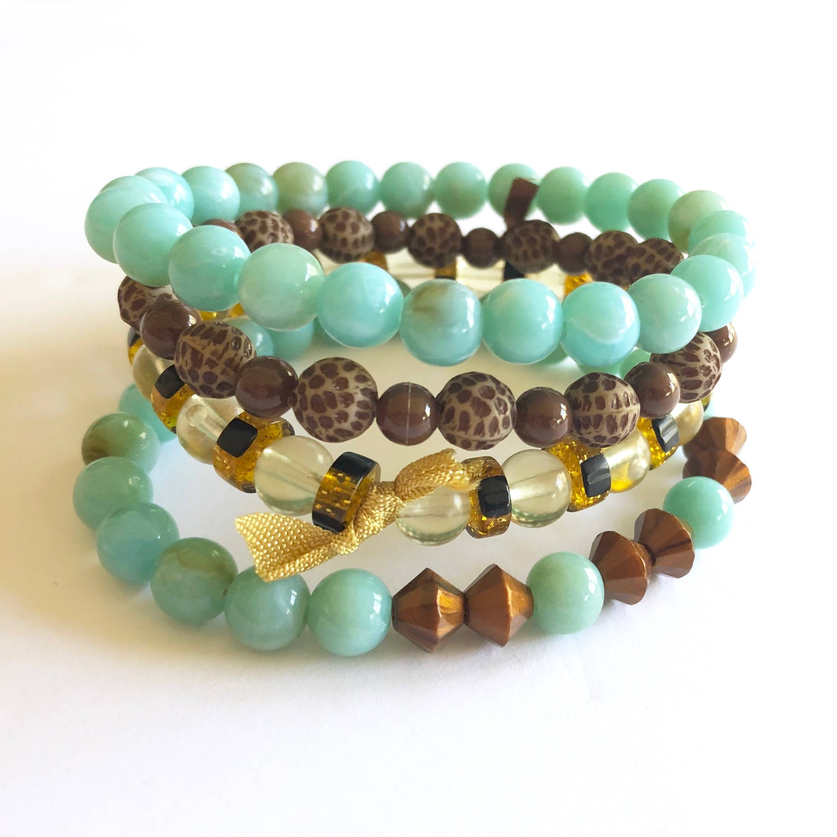 turquoise stack bracelets