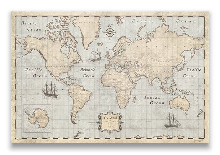 Conquest Maps: World & USA Pin Board, Pins & Posters Travel Maps ...