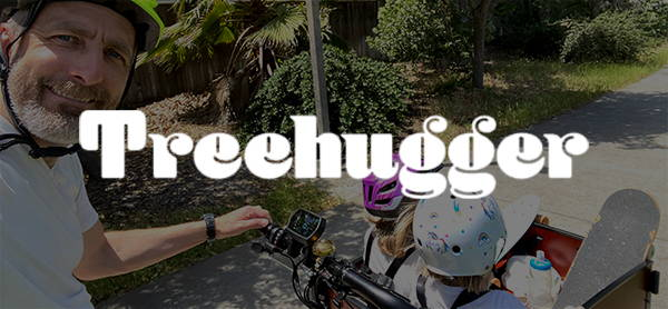 Treehugger logo with electric front load cargo bike