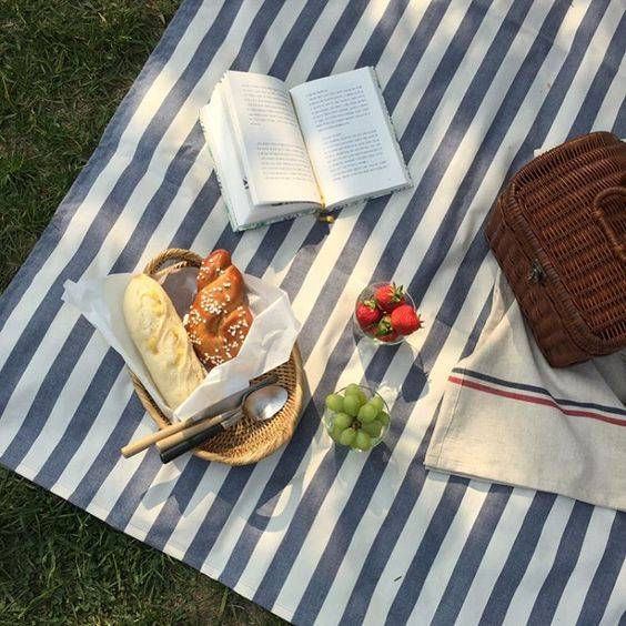 A picnic scene with food, baskets and an open book