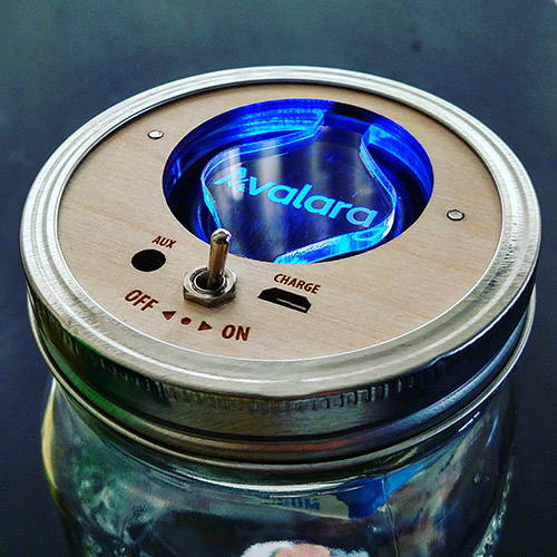 Trash Amps Mason Jar Bluetooth Speaker with Avalara Logo