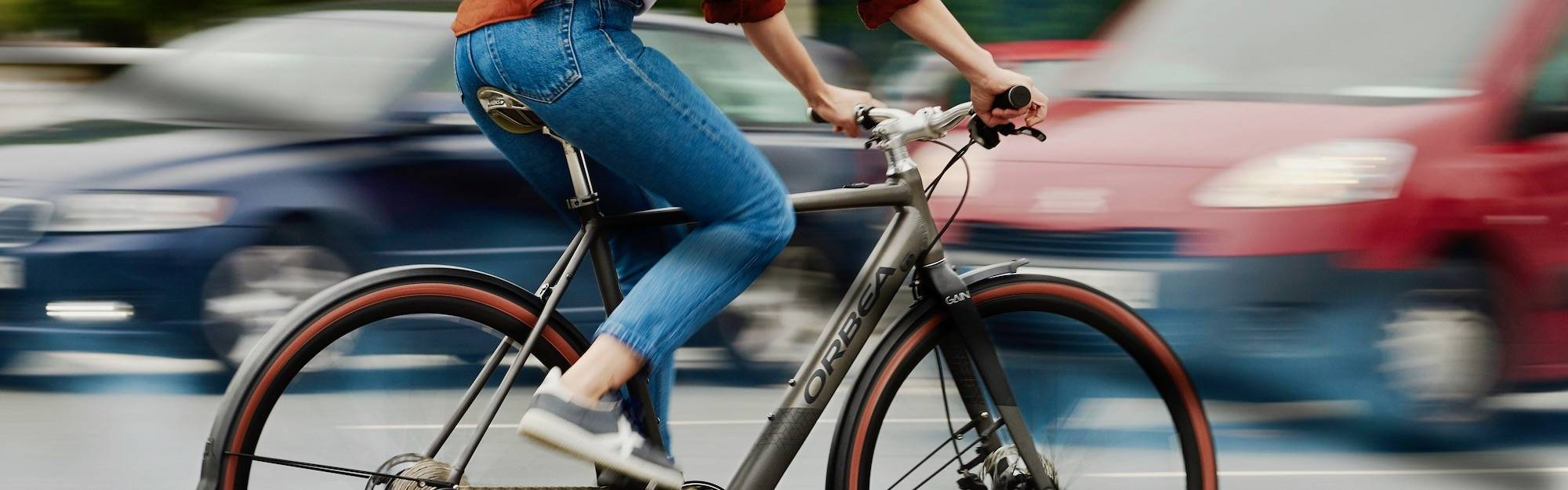 Cruising the streets on Orbea bikes.