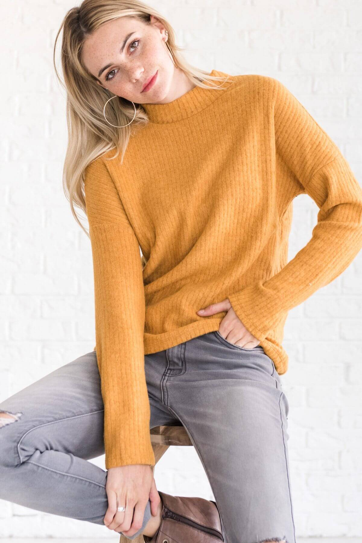 Mustard Yellow Cute High Neck Mockneck Pullover Sweater