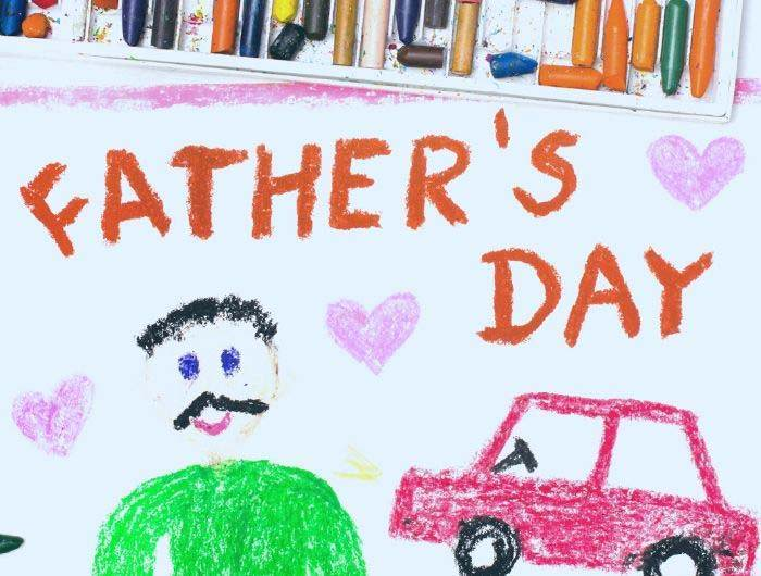 Father's day kids drawing in crayon