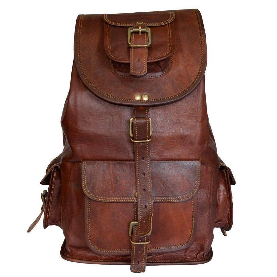 Vintage Leather Backpack for Men and Women - Hiking Outdoor Backpack